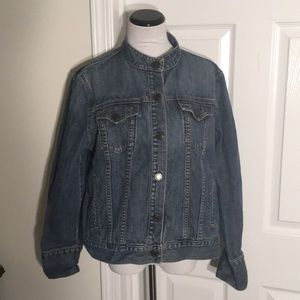 GAP Denim Snap Front Moto Jacket Size XL